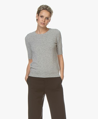 Repeat Short Sleeve Cashmere Pullover - Silver Grey