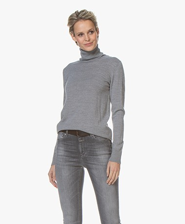 LaSalle Wool Blend Turtleneck Sweater - Grey