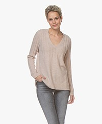 Repeat Luxury Cashmere Rib Sweater - Beige