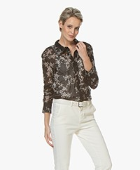 Norma Kamali Boyfriend Floral Printed Mesh Blouse - Delicate Flowers