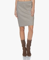 no man's land Checkered Jersey Skirt - Oak