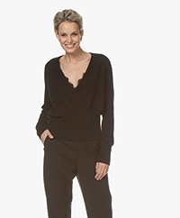 Repeat Cashmere Wrap Front Sweater - Black