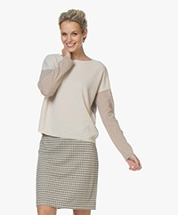 no man's land Color-block Trui met Cashmere - Multi Neutral