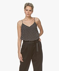 Equipment Layla Zijden Polkadot Camisole - Eclipse/Bright White