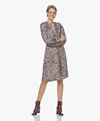 Repeat Silk Paisley Printed Dress - Ethno