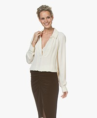 By Malene Birger Oliviaa Viscose V-hals Blouse - Soft White