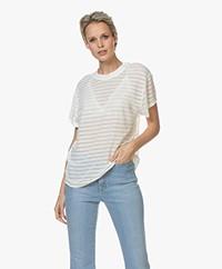 IRO Kadina Burn-out Striped T-shirt - Off-white