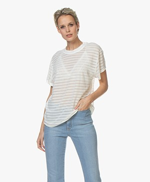 IRO Kadina Burn-out Gestreept T-shirt - Off-white