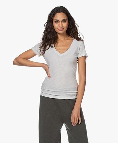 James Perse Slub Jersey V-hals T-shirt - Salt