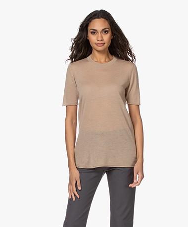 Joseph Cashair Knitted Cashmere T-shirt - Light Camel