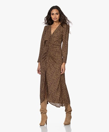 Les Coyotes de Paris Sabrina Leopard Midi Dress - Camouflage