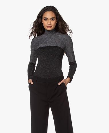 Wolford Selene Lurex String Body - Zwart/Zilver