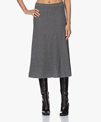 Repeat Knitted Cashmere A-line Skirt - Medium Grey