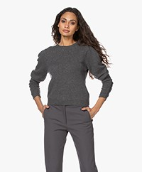 FRAME Gabby Cashmere Sweater with Smocked Sleeves - Grey Melange