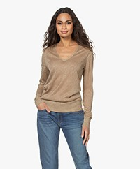 Joseph Viscose Blend V-neck Sweater with Lurex - Champagne
