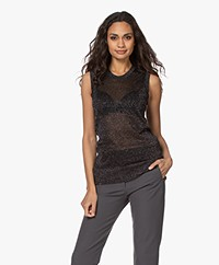 Joseph Lurex Knitted Top - Black/Silver