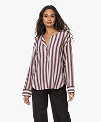 Les Coyotes de Paris Lanu Striped Tunic Blouse - Burgundy/Ecru