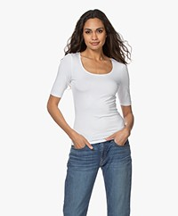 no man's land Viscose Half Sleeve T-shirt - White