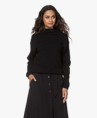 by-bar Moss Funnel Neck Wool Blend Sweater - Black