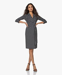 LaDress Penelope Travel Jersey Polkadot Wrap Dress - Black/Off-white