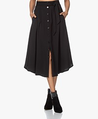 by-bar Davina A-line Crepe Button-through Skirt - Black