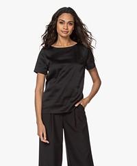 LaDress Monica Satin Short Sleeve Blouse - Black