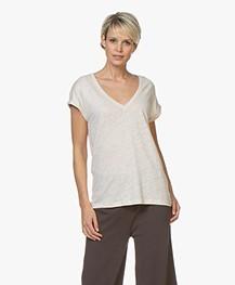 BY-BAR Mila Linnen Jersey T-shirt - Stone