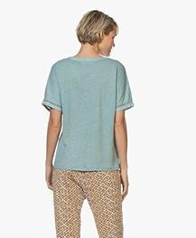 Belluna Joss Linen Blouse Top with Short Sleeves - Emerald
