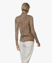 Ragdoll LA Jersey Luipaard Print Colshirt - Bruin