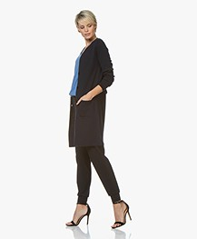 Belluna Someone Half Long Viscose Blend Cardigan - Navy