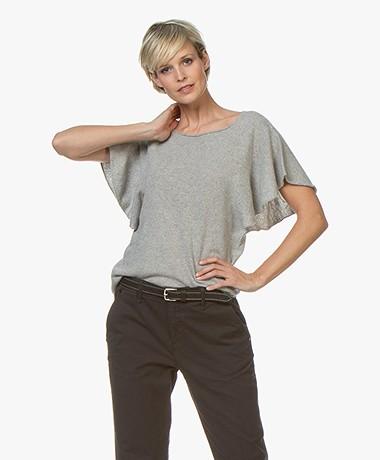 Majestic Filatures Short Sleeve Sweater in Cashmere Blend - Grey Melange
