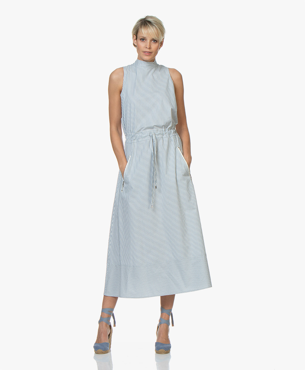 50665b5d83b2 BOSS Cassina Striped Poplin Midi Dress - Bright Blue - cassina | 50405223  439 - bright