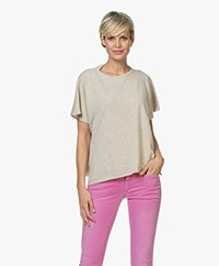 LaSalle Cashmere Poncho Short Sleeve Sweater - Beige