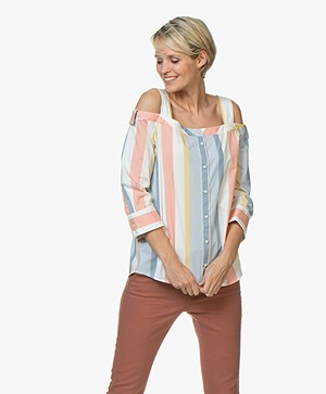 BOSS Caloria Cold Shoulder Striped Blouse - Open Miscellaneous