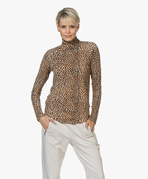 Ragdoll LA Jersey Leopard Print Turtleneck - Brown