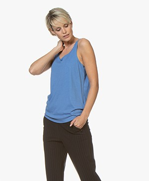 Repeat Lyocell Blend Tank Top - Blue Jeans