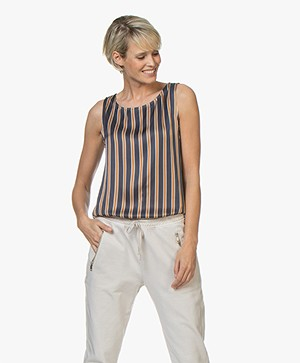 no man's land Striped Satin Top - Dark Gold