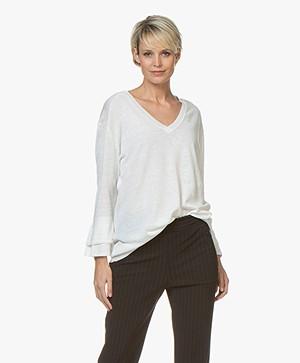 JapanTKY Lyza Silk Blend Flounce Sleeve Pullover - Off-white