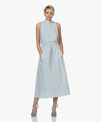BOSS Cassina Striped Poplin Midi Dress - Bright Blue