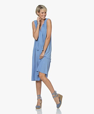 BRAEZ A-line Dress with Tie-closure - Bright Blue