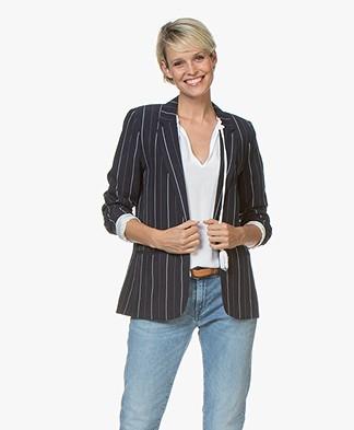 MKT Studio Viky Striped Linen Blend Blazer - Navy