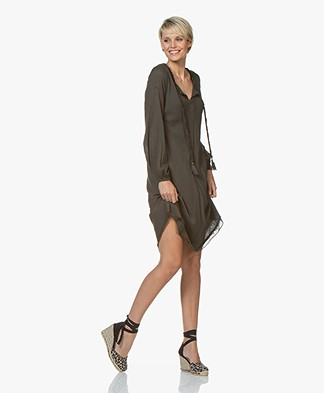 BRAEZ Voile Dress with Tie-closure - Army