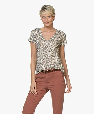 ba&sh Floky Linnen Bloemenprint T-shirt - Ecru