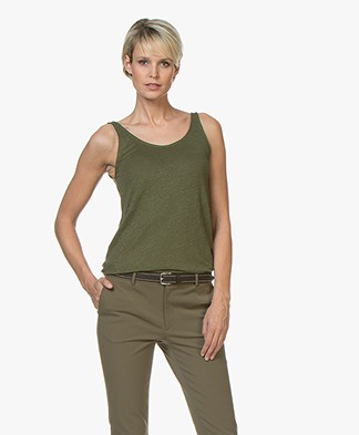 Closed Linen Tank Top - Jungle