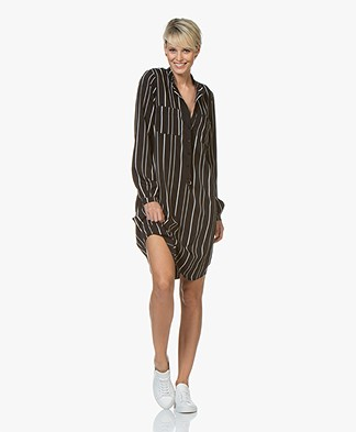 Woman by Earn Ted Fancy Striped Shirt Dress - Black/White
