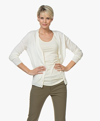 Filippa K Silk Mix V-Neck Cardigan - Off-white