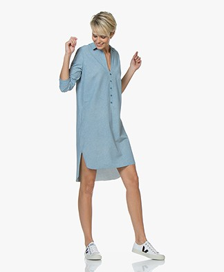 JapanTKY Kozii Travel Jersey Print Tunic Dress - Soft Grey/Sky Blue