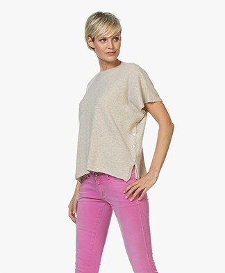 LaSalle Cashmere Poncho Short Sleeve Sweater - Beige