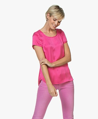 no man's land Stretch Silk Blouse Top - Dragon Fruit