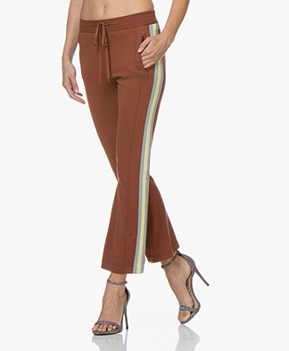 Ragdoll LA Knitted Flared Pants with Side Striped - Rust